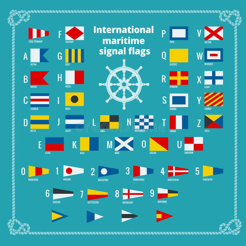 Banderas de señal marítimas internacionales Alfabeto del mar Ejemplo plano del vector libre illustration