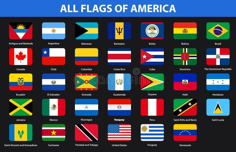 Banderas de todos los países de continentes americanos Estilo plano ilustración del vector