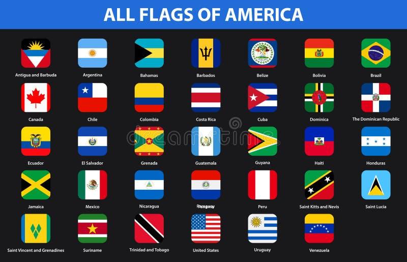 Banderas de todos los países de continentes americanos Estilo plano stock de ilustración