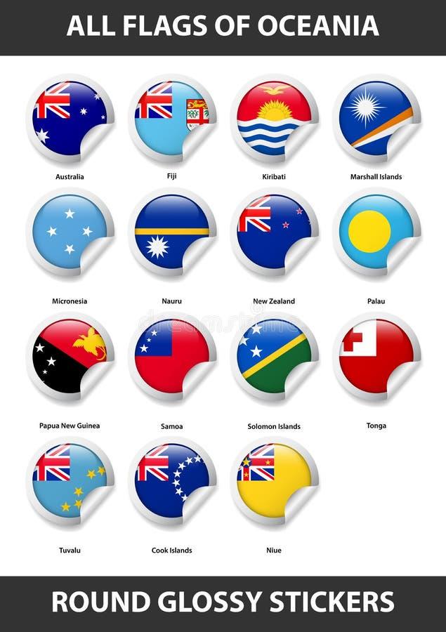 Banderas de todos los países de Oceanía Etiquetas engomadas brillantes redondas libre illustration
