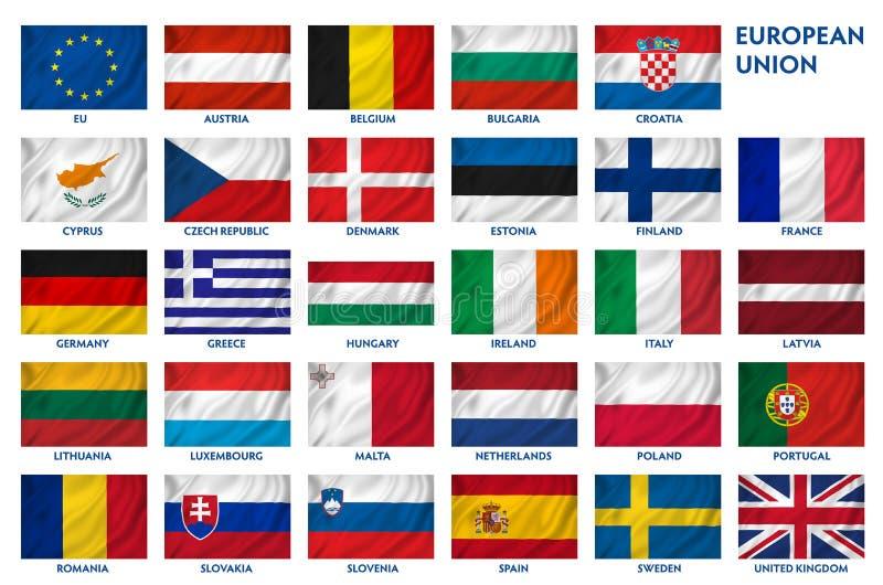 Banderas de unión europea ilustración del vector