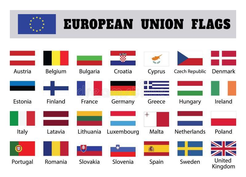 Banderas de unión europea, veintiocho 28 países miembros europeos stock de ilustración