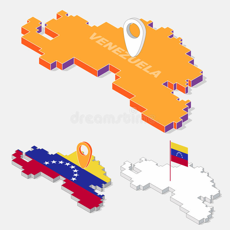 Banderas de Venezuela en la forma isométrica geométrica 3D del elemento del mapa aisladas en fondo stock de ilustración