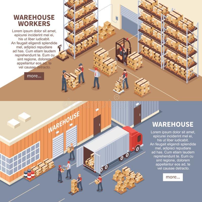 Banderas de Warehouse fijadas stock de ilustración