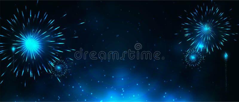 Banderas del Año Nuevo con los fuegos artificiales imagen de archivo libre de regalías