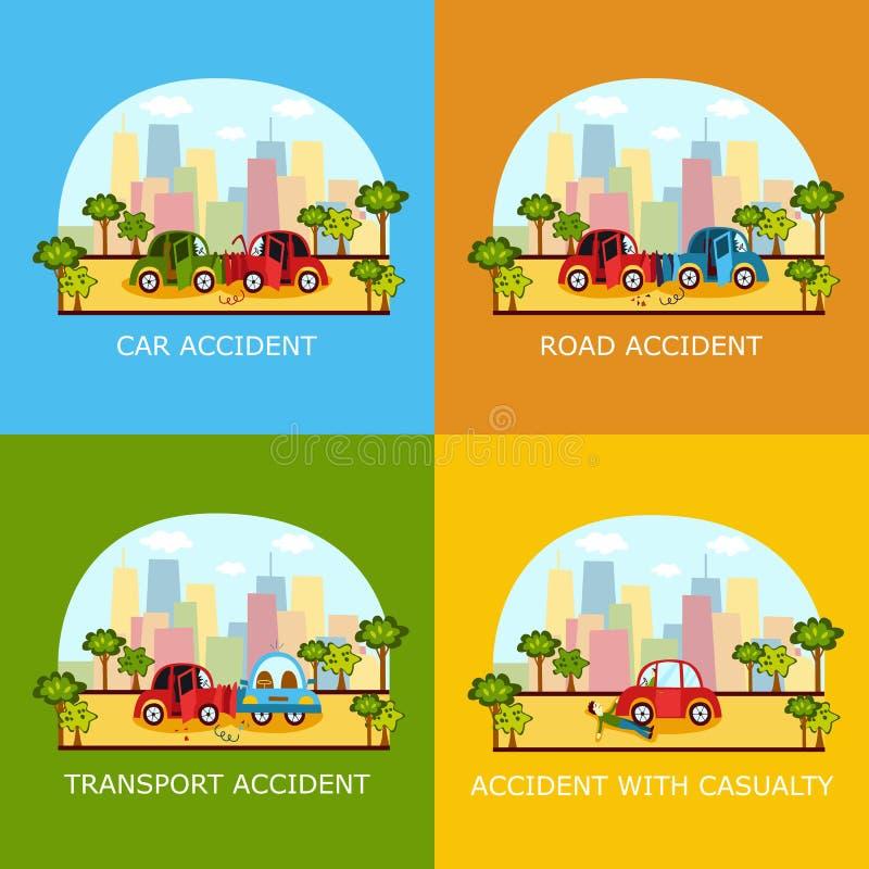 Banderas del accidente de tráfico - colisión y peatón ilustración del vector