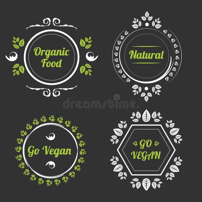 Banderas del alimento biológico fijadas stock de ilustración