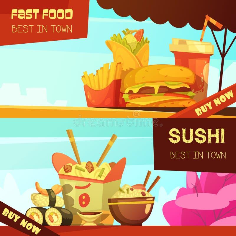 Banderas del anuncio del restaurante de los alimentos de preparación rápida fijadas stock de ilustración