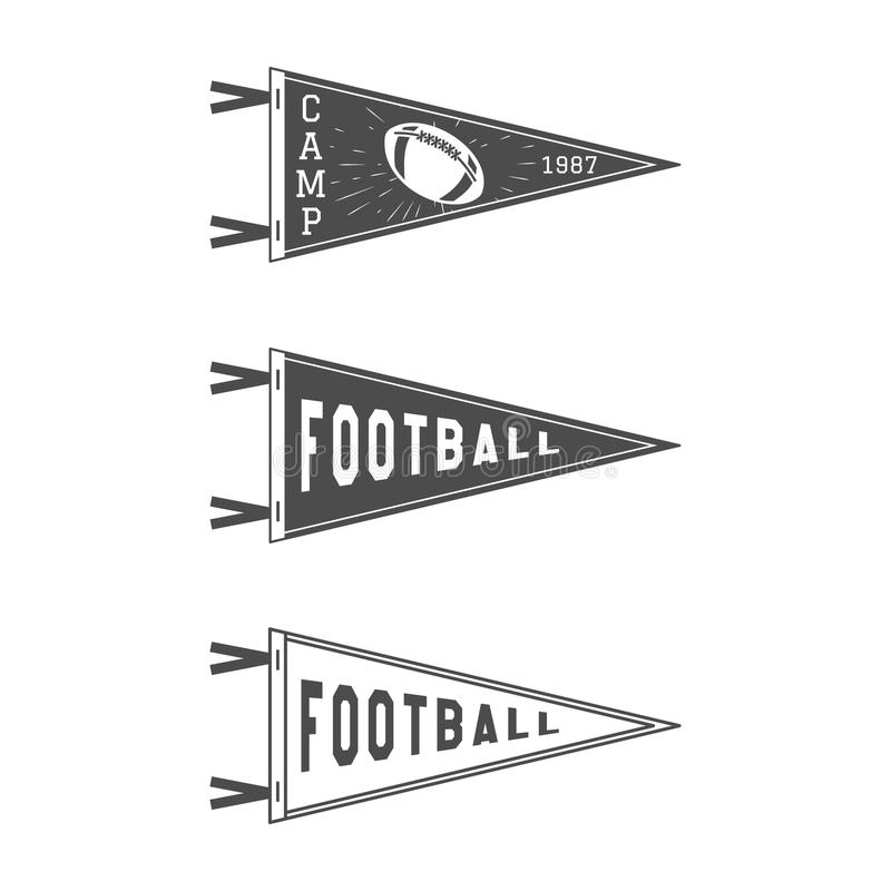 Banderas del banderín del fútbol de la universidad fijadas Iconos del colgante del fútbol del vector Bandera del deporte de los E stock de ilustración