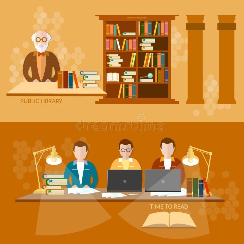 Banderas del bibliotecario de los libros de lectura de los estudiantes de la biblioteca pública stock de ilustración