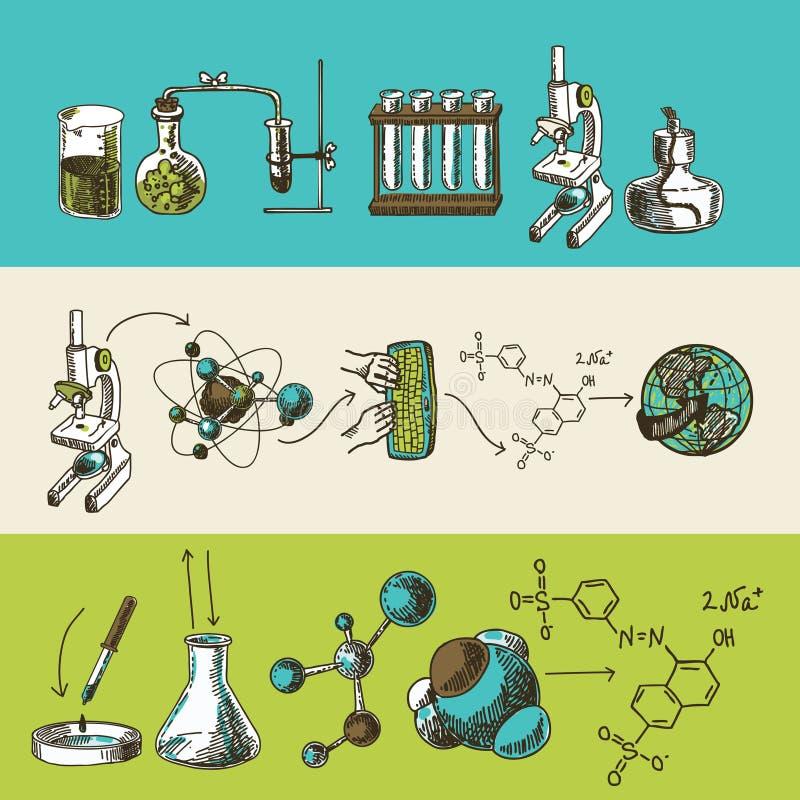 Banderas del bosquejo de la investigación de la química fijadas stock de ilustración