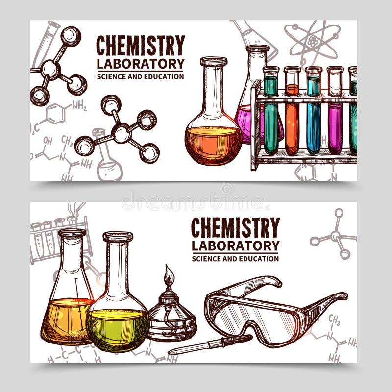 Banderas del bosquejo del laboratorio de química libre illustration