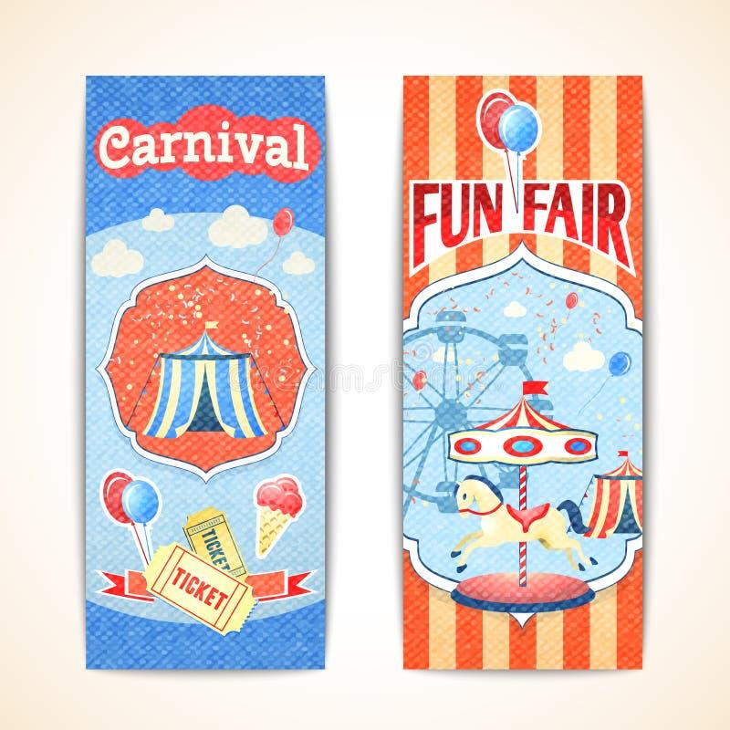 Banderas del carnaval del vintage verticales ilustración del vector