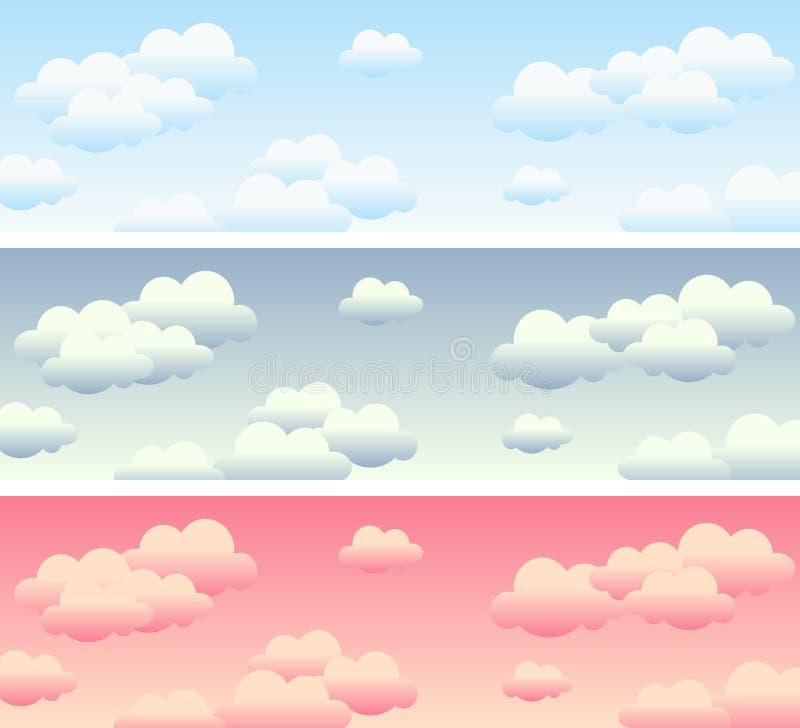Banderas del cielo nublado stock de ilustración