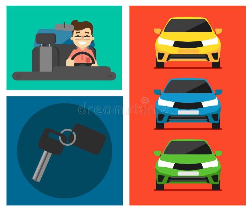 Banderas del coche de alquiler stock de ilustración