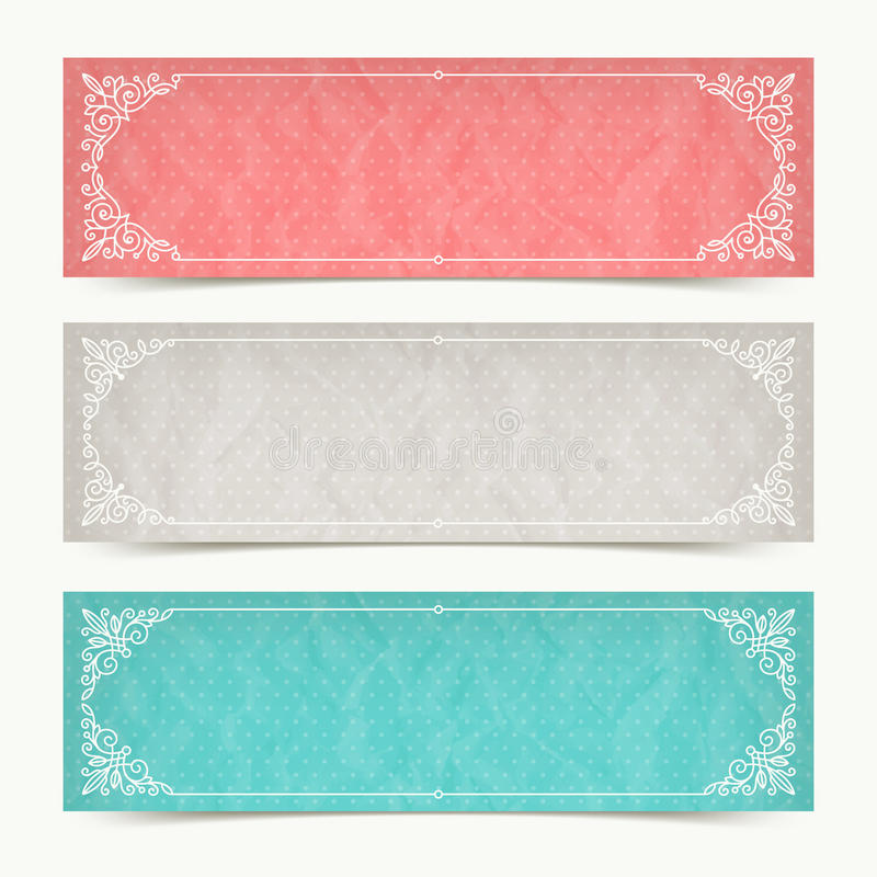 Banderas del color de papel con los marcos ornamentales caligráficos libre illustration
