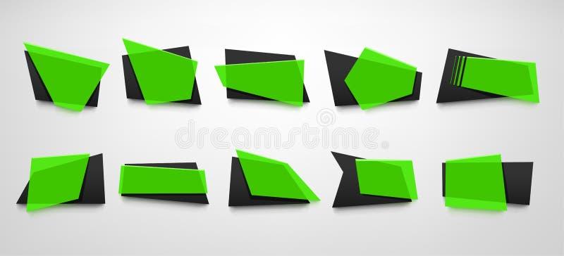 Banderas del color verde fijadas stock de ilustración