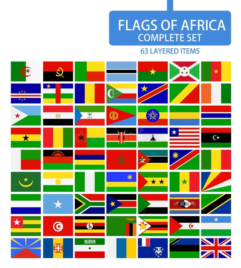 Banderas del conjunto completo de África stock de ilustración