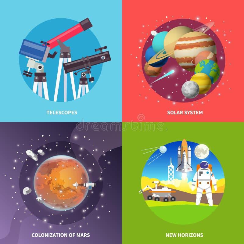 Banderas del cuadrado del vector de espacio stock de ilustración