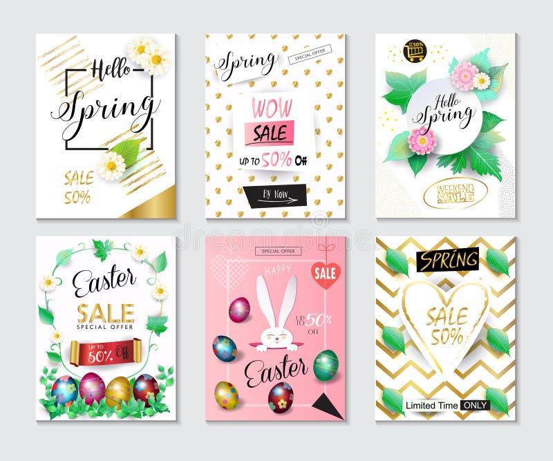 Banderas del día de fiesta de Pascua de la primavera de la venta fijadas stock de ilustración