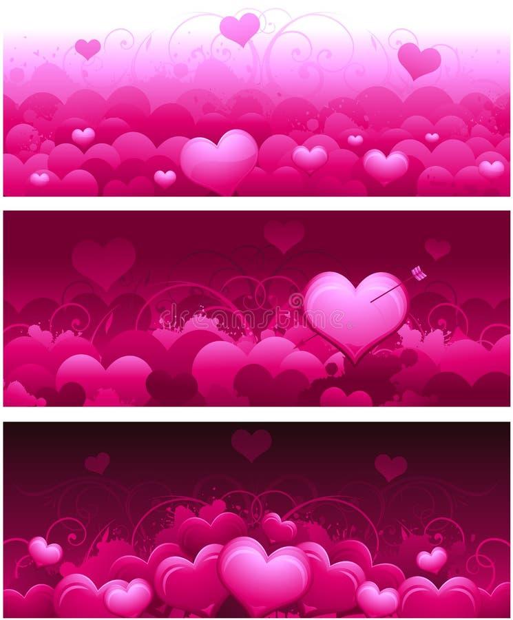Banderas del día de tarjeta del día de San Valentín ilustración del vector