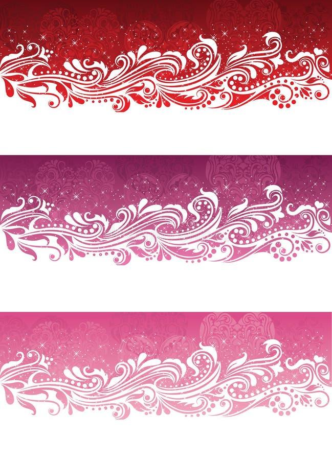 Banderas del día de tarjeta del día de San Valentín. stock de ilustración