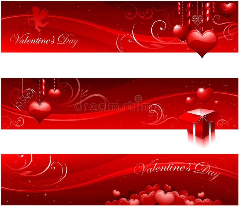 Banderas del día de tarjeta del día de San Valentín stock de ilustración