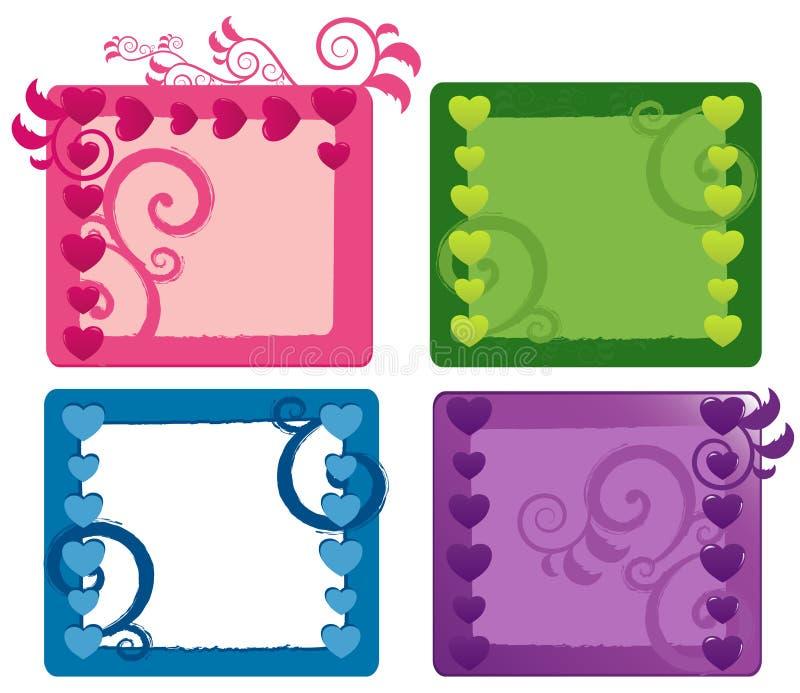 Banderas del día de tarjeta del día de San Valentín fijadas stock de ilustración