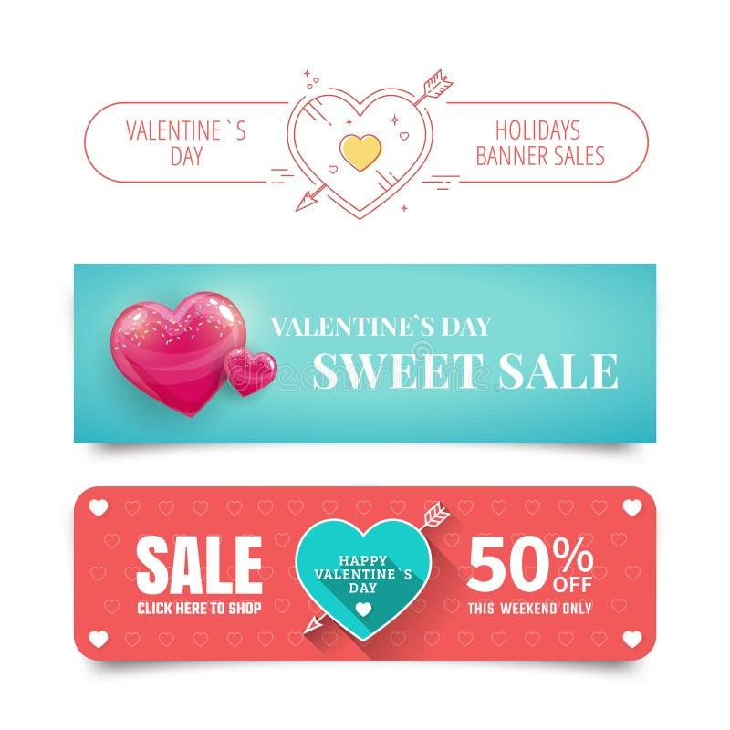 Banderas del día de tarjetas del día de San Valentín libre illustration