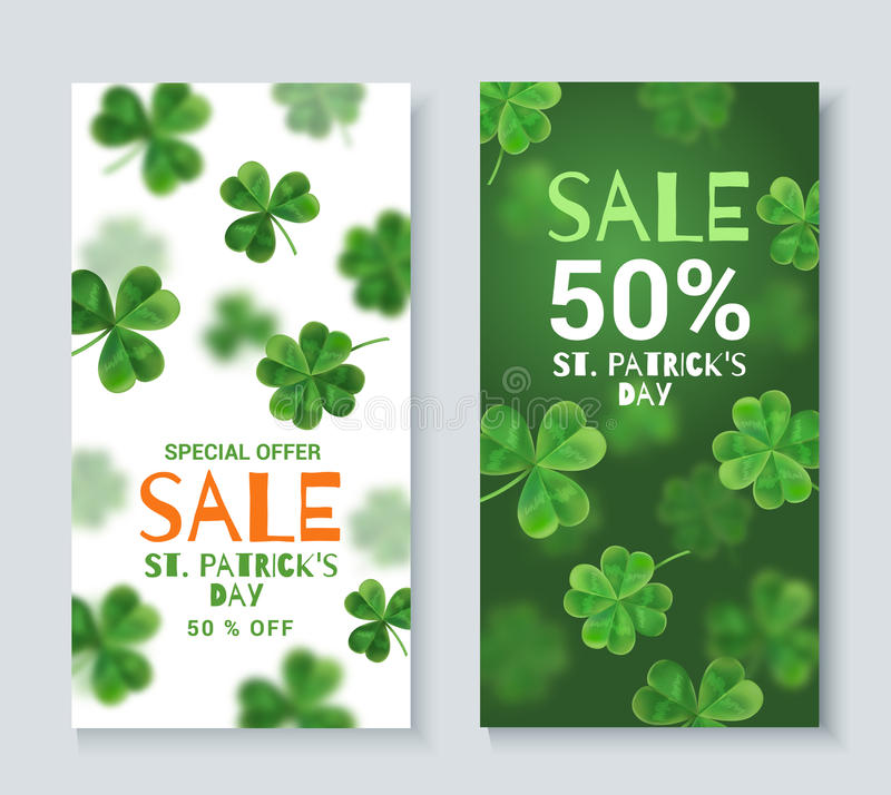 Banderas del descuento de la colección el día de St Patrick stock de ilustración