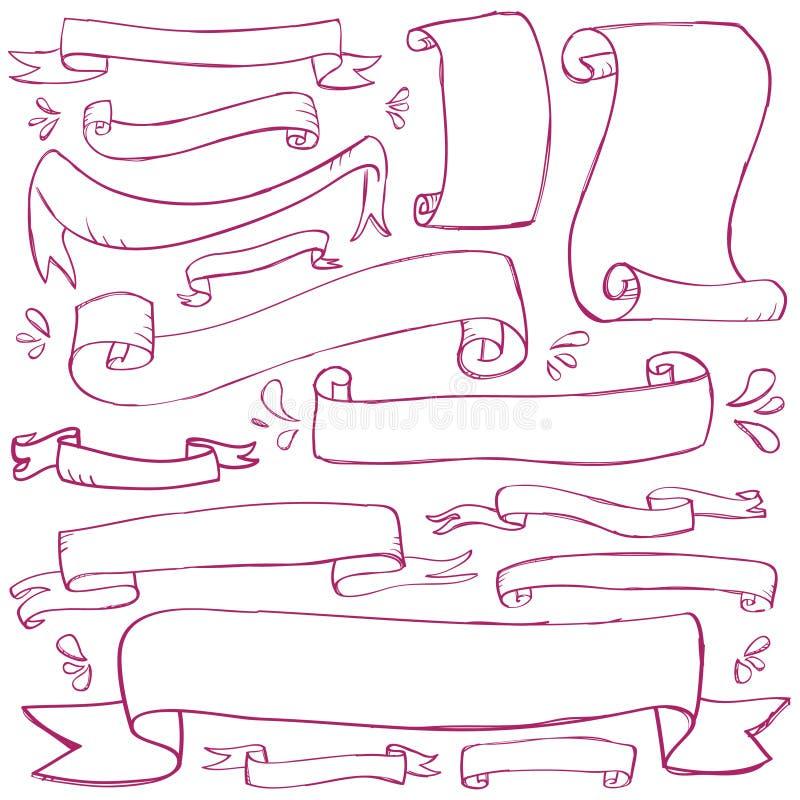 Banderas del Doodle stock de ilustración