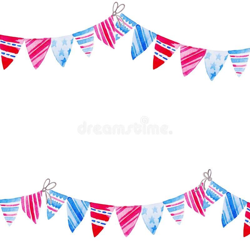 Banderas del empavesado de la acuarela del marco Celebración del Día de la Independencia americano stock de ilustración