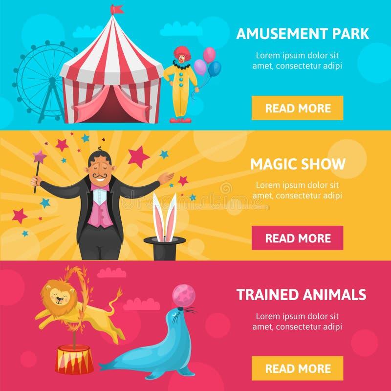 Banderas del entretenimiento del circo fijadas stock de ilustración