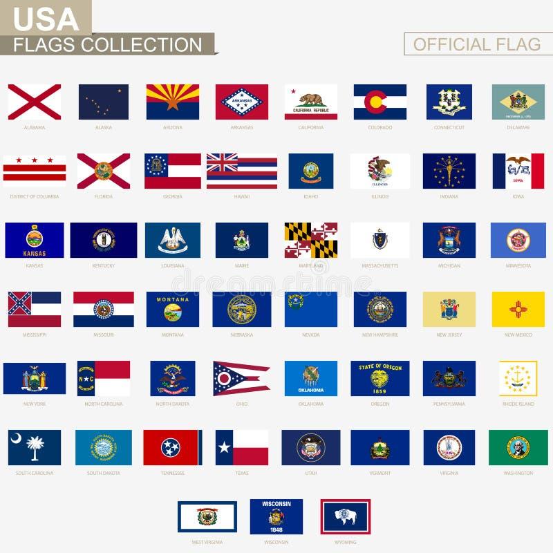 Banderas del estado de los Estados Unidos de América, colección oficial de las banderas del vector stock de ilustración