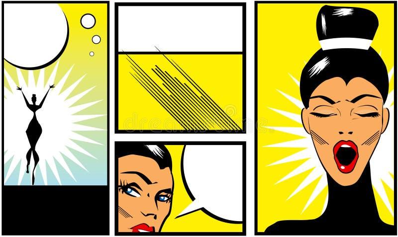 Banderas del estilo del cómic del arte pop con la mujer hermosa ilustración del vector