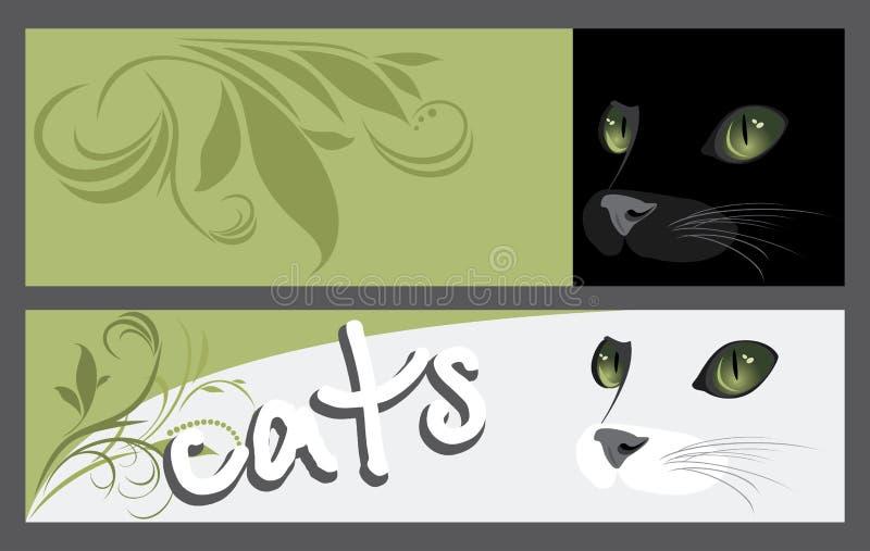 Banderas del extracto dos con el bozal de gatos ilustración del vector