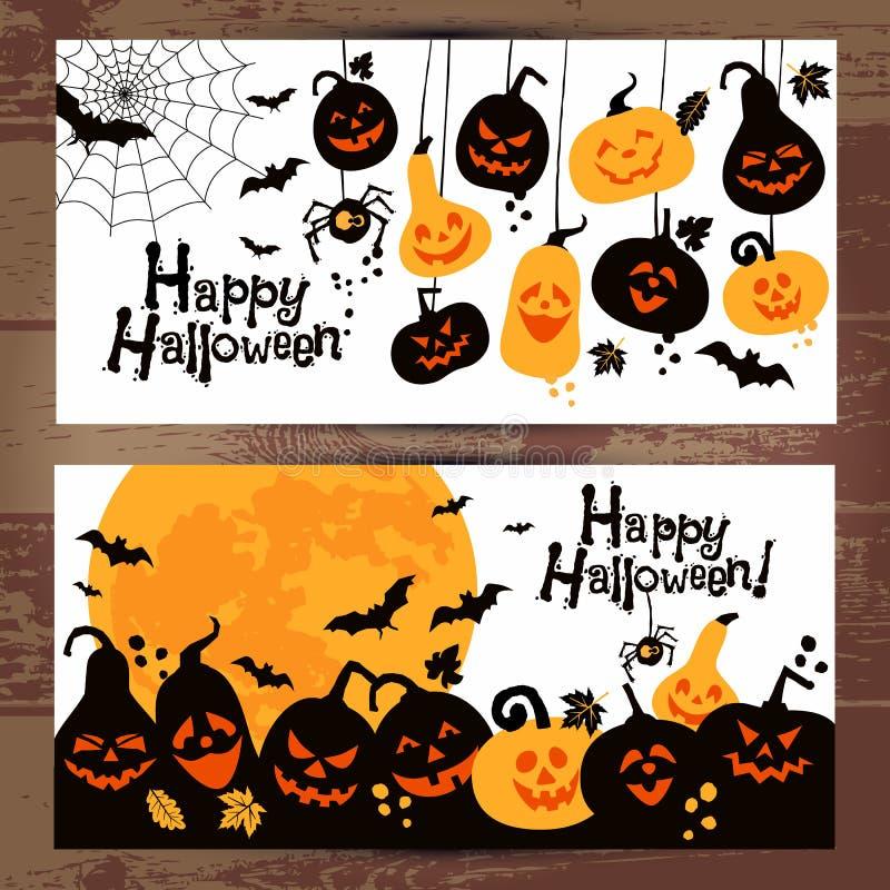 Banderas del fondo de Halloween de calabazas alegres stock de ilustración
