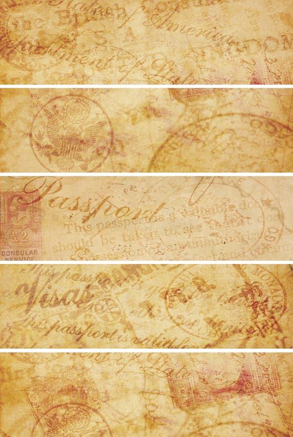 Banderas del fondo del viaje del vintage imágenes de archivo libres de regalías