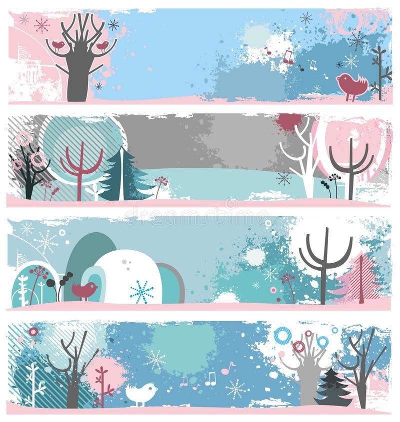 Banderas del grunge del invierno ilustración del vector