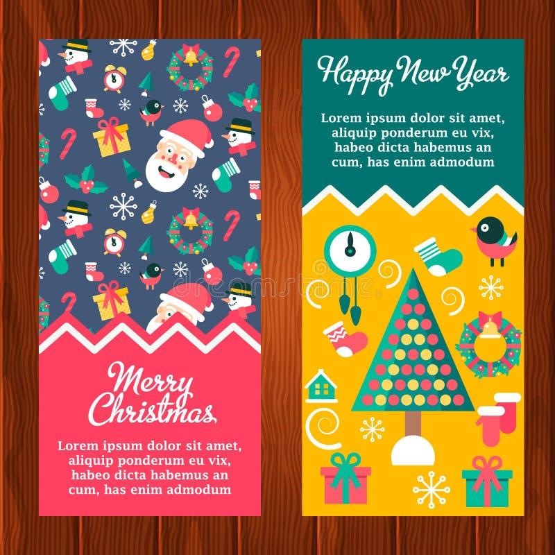 Banderas del invierno de la Feliz Navidad y de la Feliz Año Nuevo stock de ilustración