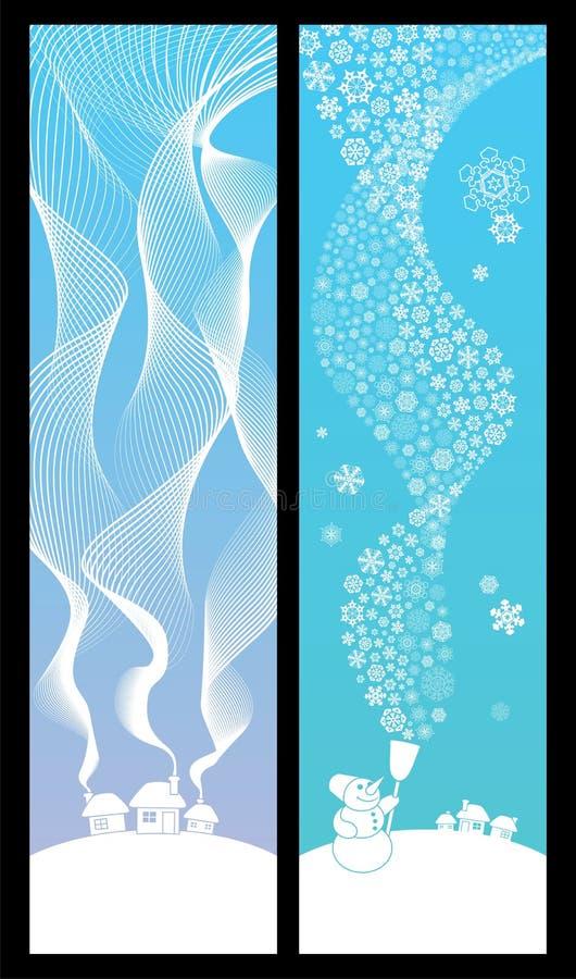 Banderas del invierno verticales stock de ilustración