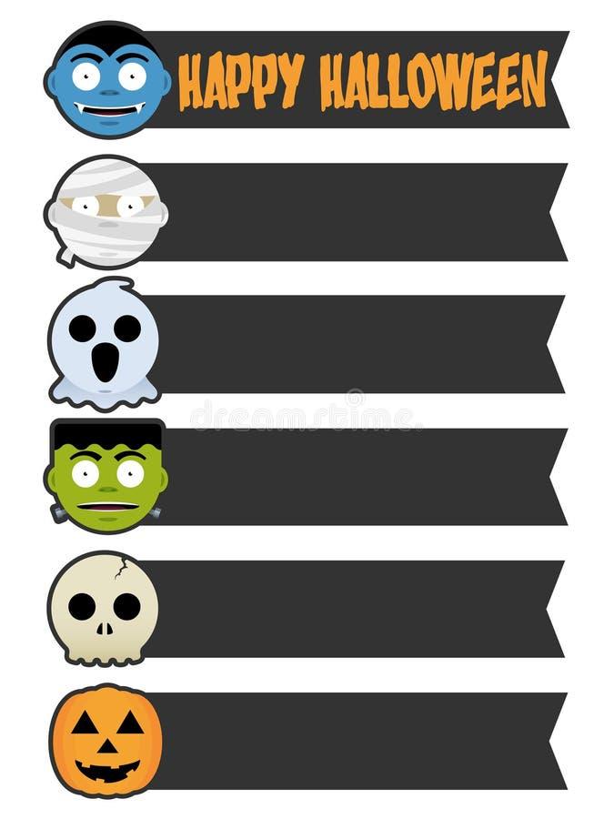 Banderas del monstruo de Halloween ilustración del vector