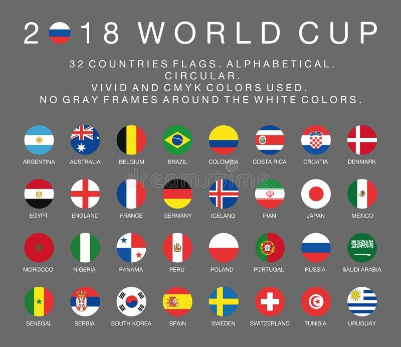 Banderas del mundial 2018 del Fifa de 32 países stock de ilustración