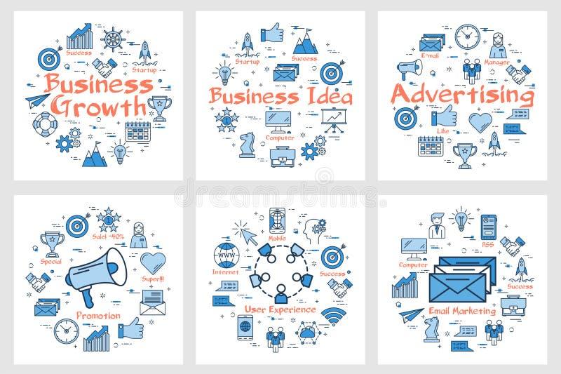 Banderas del negocio con los iconos en sistema del cuadrado ilustración del vector