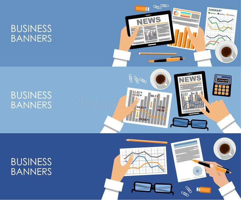 Banderas del negocio en diseño plano del estilo Vector ilustración del vector