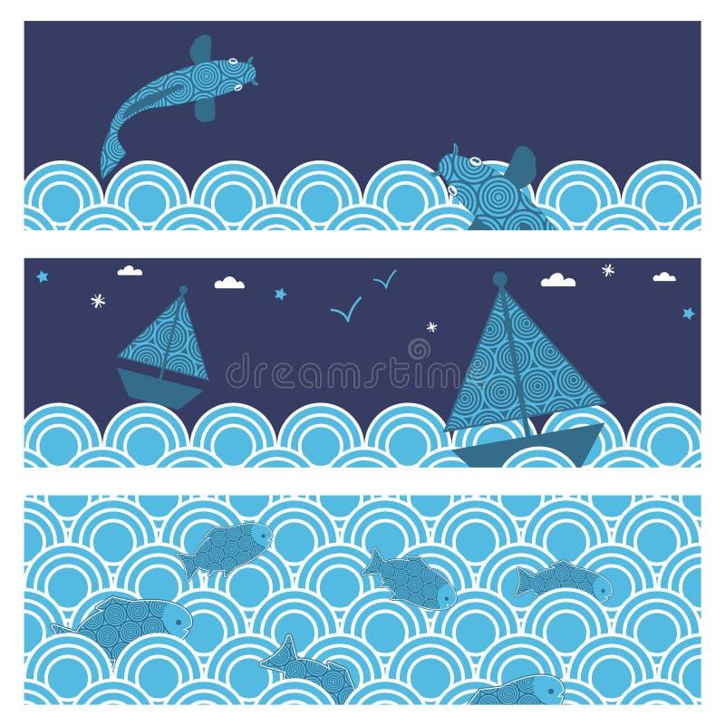 Banderas del océano stock de ilustración