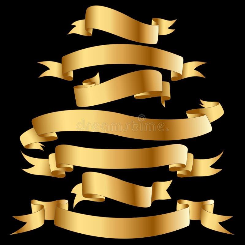 Banderas del oro. stock de ilustración