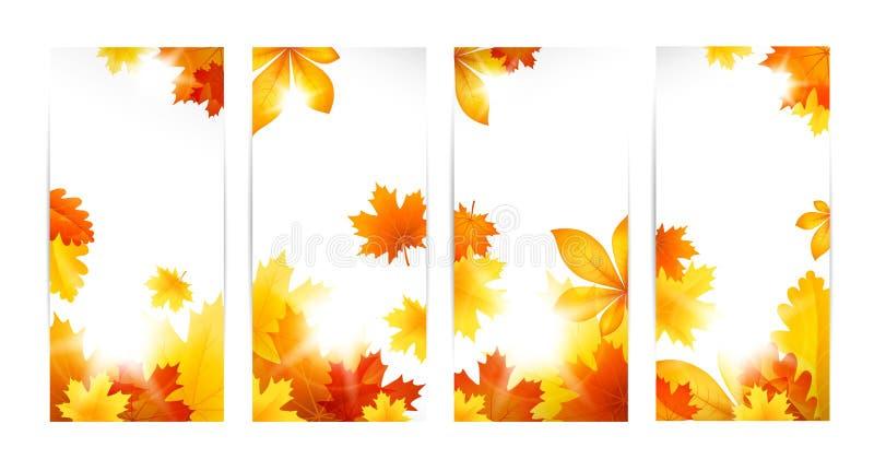 Banderas del otoño con las hojas ilustración del vector