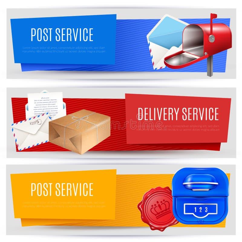 Banderas del paquete postal fijadas libre illustration