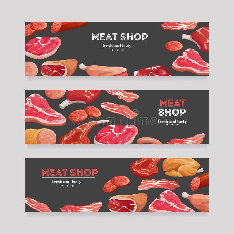 Banderas del producto de carne Salchicha de la carne de vaca y de cerdo, jamón y salami, tocino Sistema del vector de la bandera  libre illustration